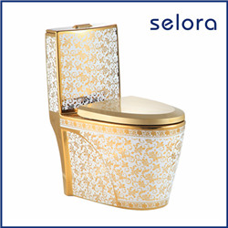 alibaba china supplier sanitaryware egg shape luxury bathroom two piece gold color toilet for sale