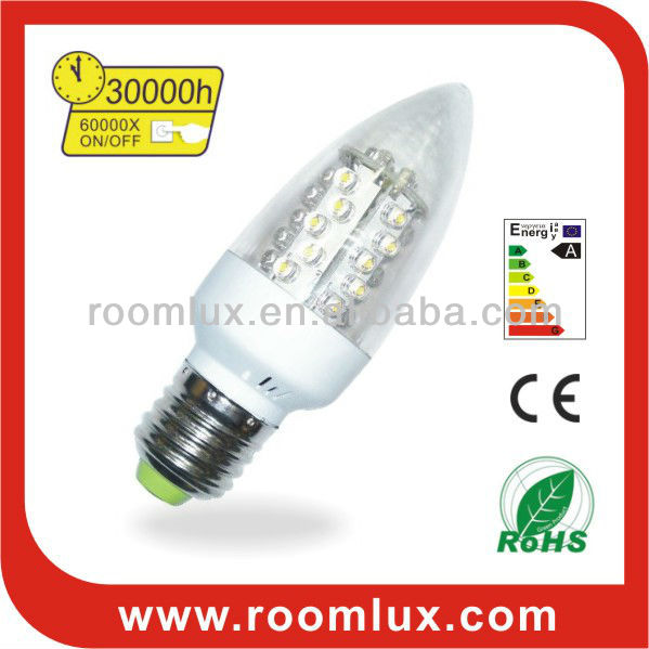 E27/E14 LED clear candle bulb & chandelier light 1.5W Dia42X118mm