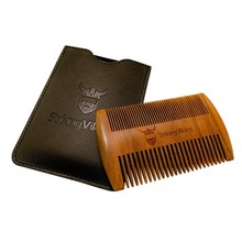 World best selling products pocket wooden beard comb with leather case sandalwood beard comb