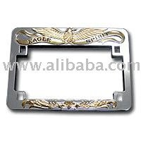 License Plate Frame with Gold Eagle Imprint