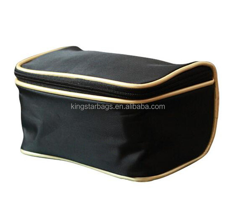Wholesale Polyester Cosmetic Bag Gold Piping