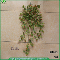 wall hanging green & red artificial rattan,artificial plastic ivy vines for home decoration