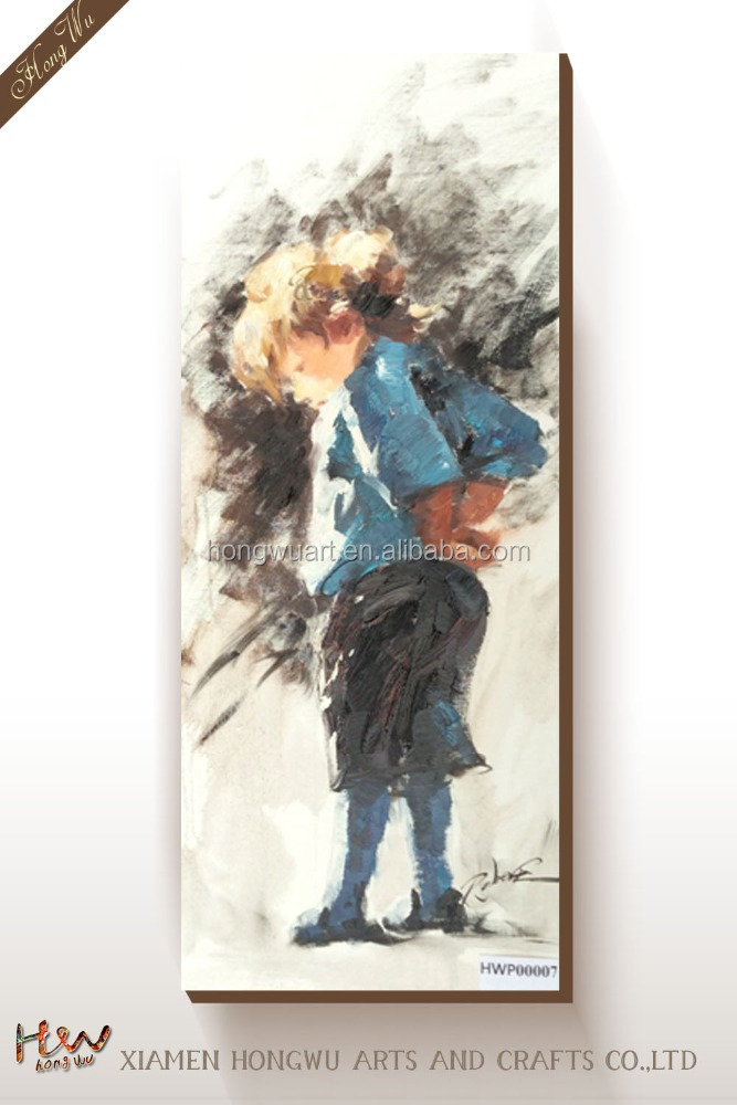 Figure Oil Painting Picture Printed on Fine Thick Canvas Large Size Canvas Wall Art With Frame Little Boy Home Wall Deco