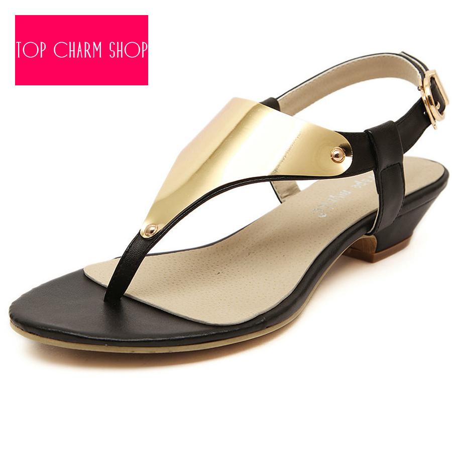 f9b0623d5f180 Get Quotations · New 2015 Vintage Summer Flat Sandals Triangle Metal Women s  Shoes Belt Clip Flip-Flop Shoes