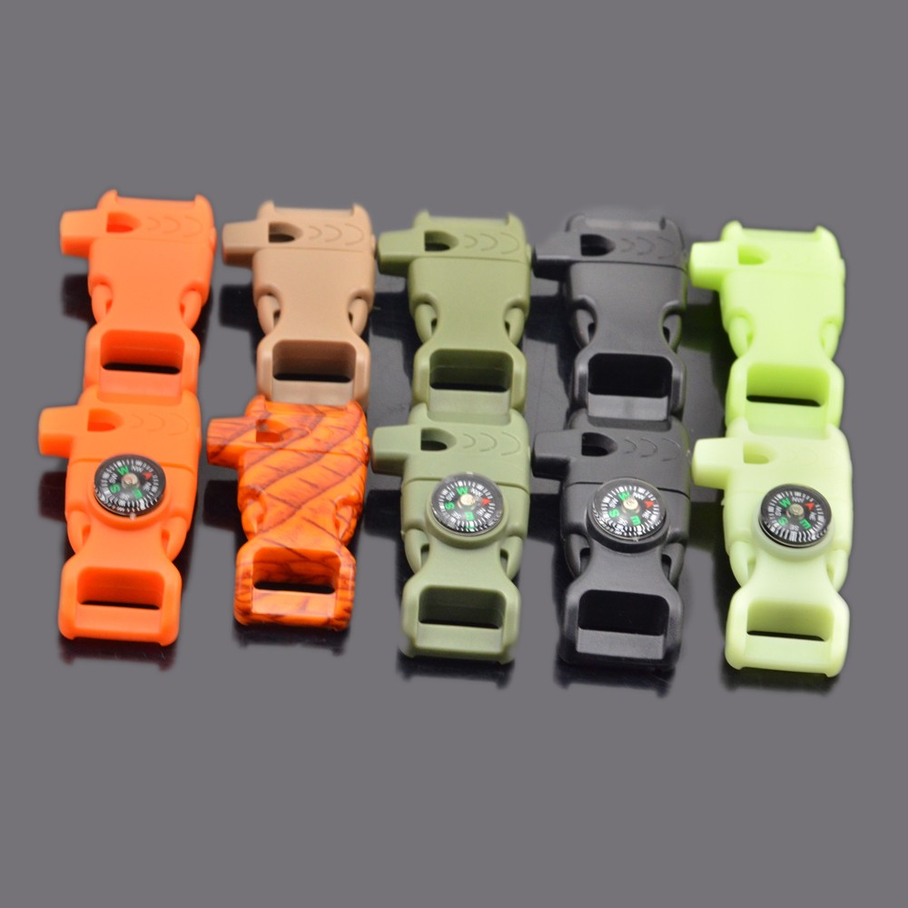 "1/2"" Compass Flint Fire Starter Scraper Whistle Compass Fire Starter Paracord Buckle for Emergency Survival"