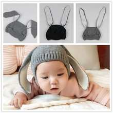 100% polyester funny Smart Rabbit knitted baby winter hat with long ears