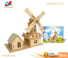 2016 New Puzzle Toys Educational 3D Windmill Design Wooden Puzzle Toys
