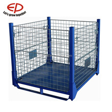 Warehouse storage heavy duty stackable galvanized steel cage pallet