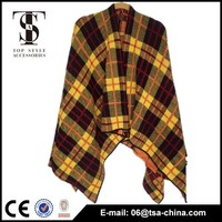 acrylic poncho pashmina shawl&kick checked plaid scarf warm and beautiful