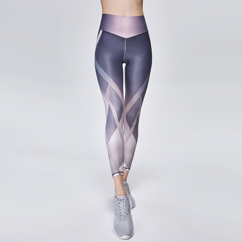 Amazon Europe and the United States digital printing yoga pants women's tight high waist sweatpants quick-drying fitness pants