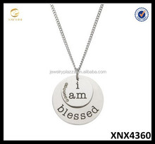 High Polished Sterling Silver I Am Blessed Pendant Necklace with CZ, Blessed Jewelry