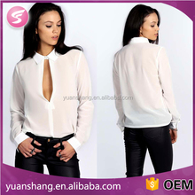 korean long sleeve formal blouses women white chiffon blouse