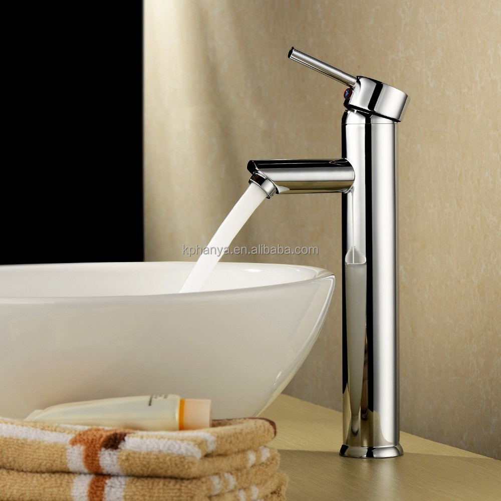 Single Handle Bathroom Lavatory Basin Faucet Chrome Tall Spout Deck Mount Bathtub Faucet Mixer Taps