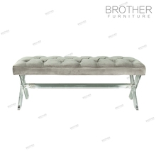 Modern upholstered long ottoman fabric bench stools with acrylic feet
