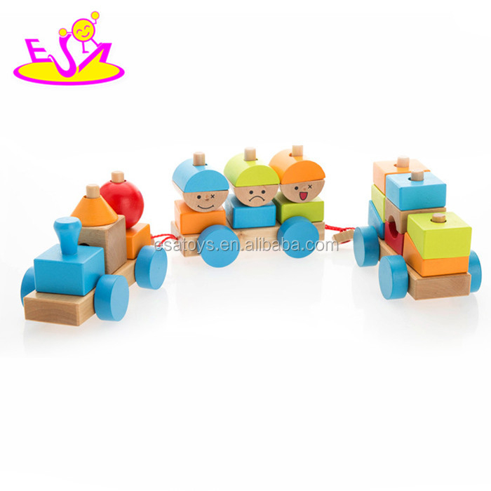 2015 Pull Shape Blocks Train Toy,Educational Pull Cart Wooden Blocks Train,New design wooden blocks small train pull toy W05C020