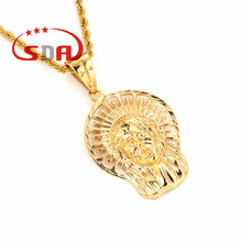 Egyptian Pharaoh Pendant Gold Human Head 18k Plated Antique Design Trendy Charm Jewelry