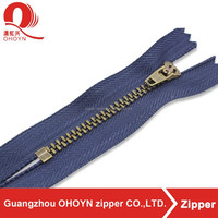 5YG close end brass slider semi auto lock zipper for jeans