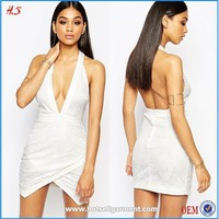 2015 Hot Sales Halter Bodycon White Lace Backless Dress Patterns Real Picture Of Cocktail Dress