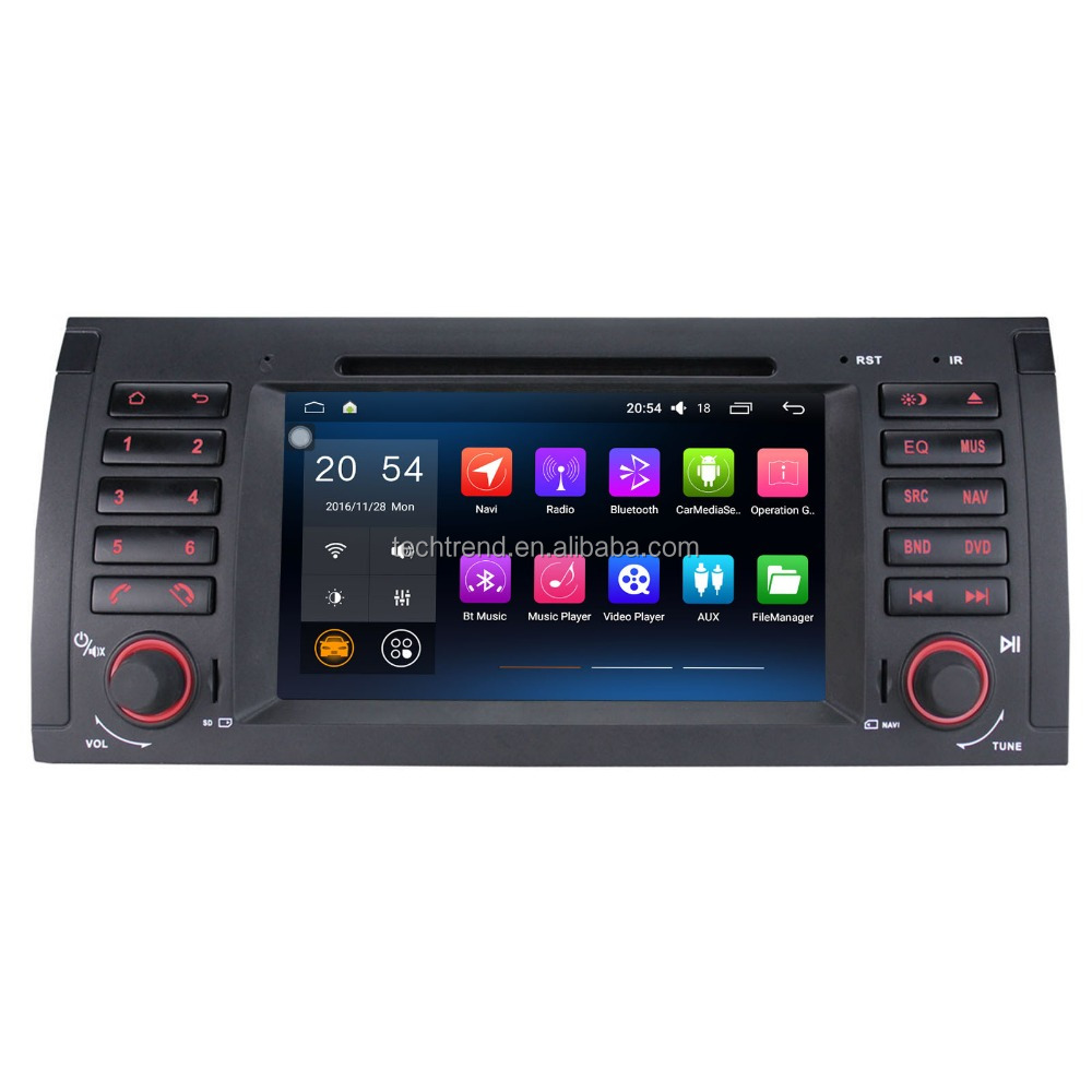 "7"" Android 2 Din Car DVD Radio QUAD CORE 16G 1024*600 GPS Navigator for BMW E39 1995-2003"