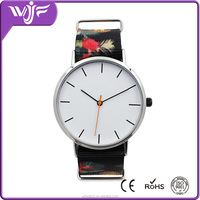 High quality alloy brand name watches with nice flowers nylon strap lady watch