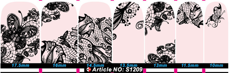 Black Lace pink nail art designs gold supplier Nail art sticker nail designs