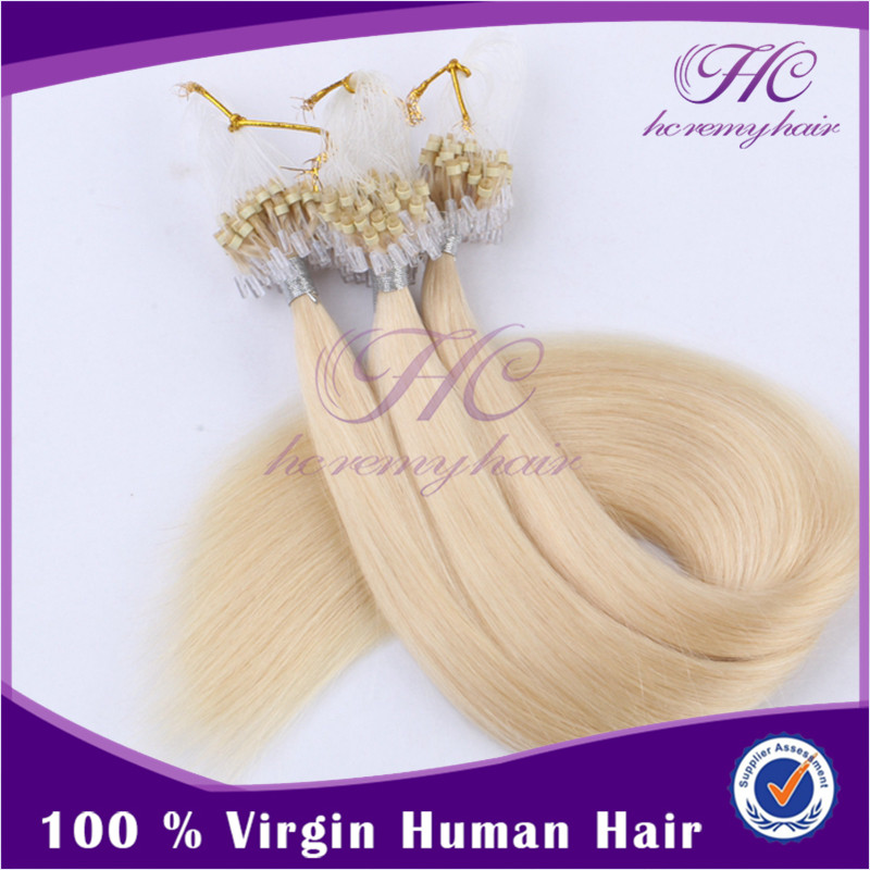 Wholesalers China 100% Cheap Price Platinum Blonde 12Inch Micro Beaded Human Hair Extensions For Women