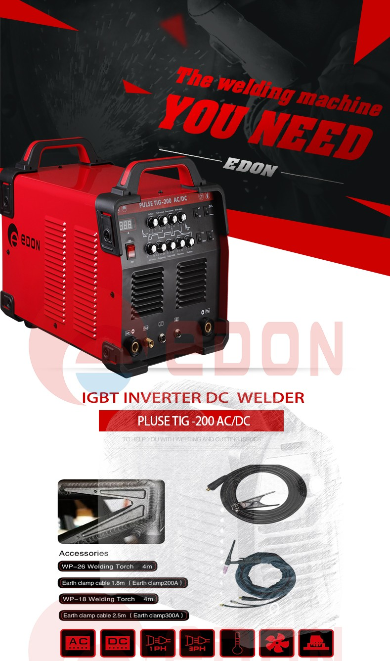 PORTABLE INVERTER SUPER 200P ALUMINUM WELDING MACHINE PULSE AC DC TIG welder