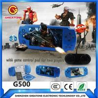 large screen 5 inch mp5 video game player with replaceable battery built-in games for 2 players