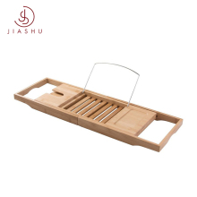 Bamboo Tray Organizer with Extending Bath Tub Sides Bathtub Caddy