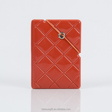 Cute diamond pattern PVC leather ID Business Credit Card Holder Pocket Wallet Purse with rubber band