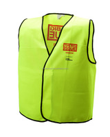 Solid fabric highway safety vest with logo printing class 2 reflective vest with pockets 100% polyester