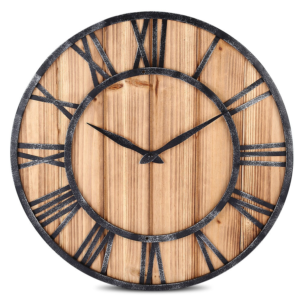 Wooden Roman Numbers American Vintage Retro Rustic Handicraft Metal Wall Clock