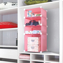 Cartoon pink 4 cubes PP folding wardrobe,saving space, can put into wooden wardrobe (FH-AL098)