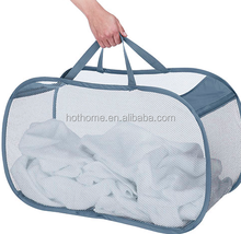 wholesale mesh foldable laundry basket for dirty cloth storage