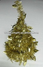 Foldable Shiny Gold Mini Decorative Wire Tinsel Garland Christmas Tree