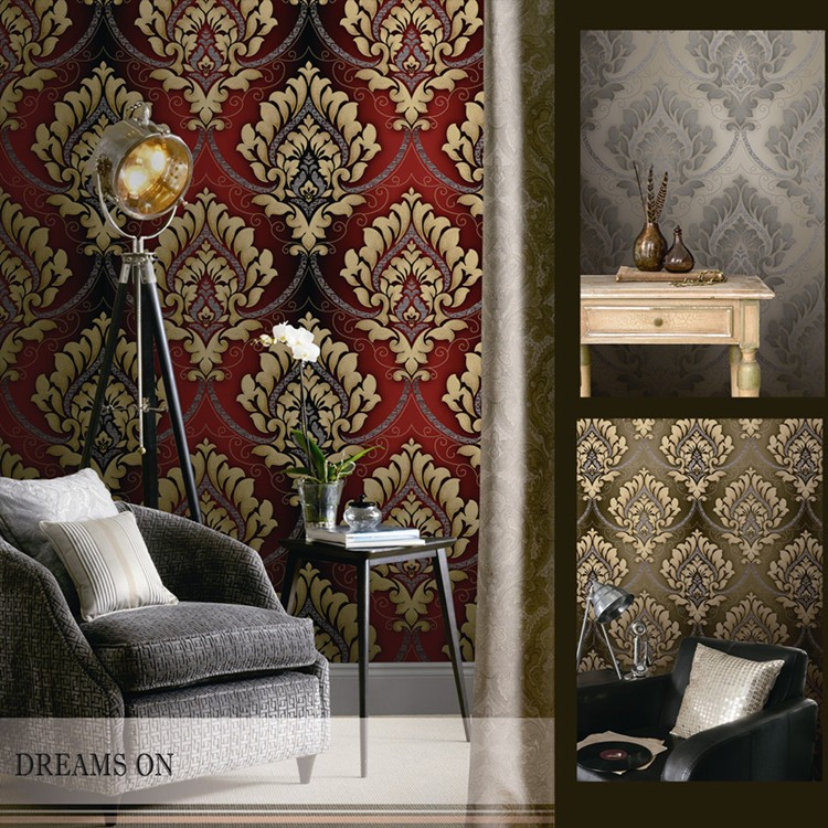 Red Classic Damask Design PVC Wallpapers Room Wallpaper