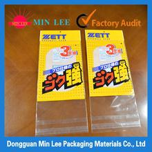 self-adhesive opp header bags with tear tape