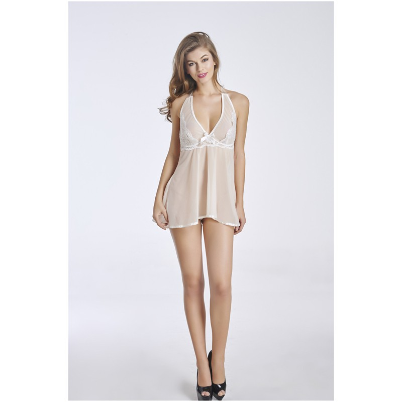 Sex nightgown women image transparent lace lingerie mature babydoll with g-string