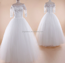 factory real sample wholesale price half sleeves wedding dress #OW188