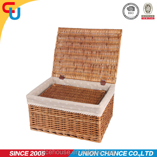 Decorative handmade container wholesale promotional handwoven willow rattan natural folk wicker baskets