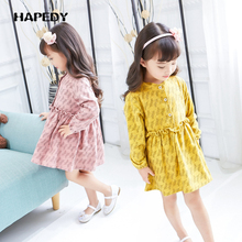 Autumn New Model Stand-up Collar Chevron Girls Floral Print Dress