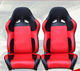 NEW PAIR RED PU LEATHER ADJUSTABLE RACING SPORT SEATS