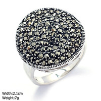 RKP-0412 marcasite jewelry 925 silver ring with black stone 925 sun silver ring wholesale products