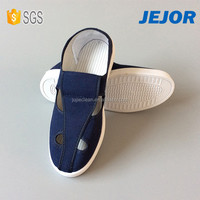 Unisex Dark Blue Cleanroom Safety ESD Canvas 4 Holes Shoe