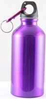 Aluminium water bottle, screw cap with carabiner, capacity 400 ml (mixed color in one box)