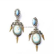 New 2014 Trendy Fashion vintage beautiful women head portrait with blue imitation gemstone and Punk gold drop earrings for women