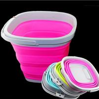 Multi-function portable silicone folding bucket can be filled with boiling water,Convenient to carry vehicle cleaning bucket