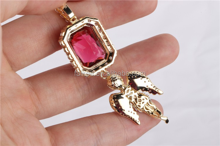 hip hop jewelry red ruby 925 sterling silver angel piece for mens pendant
