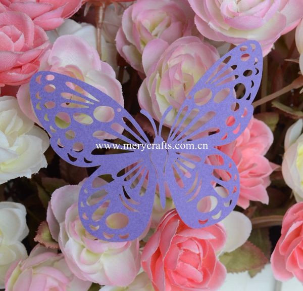 Laser cut paper crafts butterfly glass place card for wedding decoration