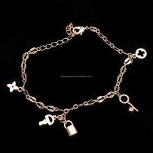 Fashionable Girl's Friendship Rose Gold Plated Lock and Key Bracelet Designs